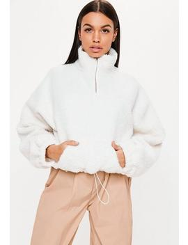 White Teddy Zip Neck Sweatshirt by Missguided