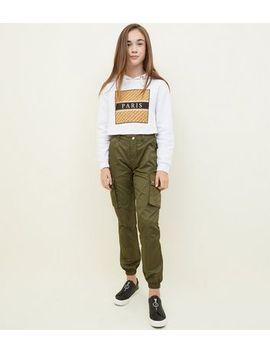 Girls Khaki High Shine Trousers by New Look