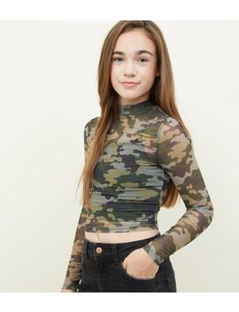 Girls Green Camo Mesh Long Sleeve Top by New Look