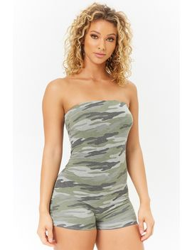 Strapless Camo Print Romper by Forever 21