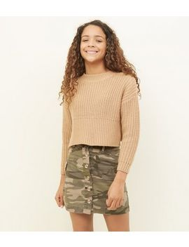 Girls Khaki Camo Button Up Utility Skirt by New Look