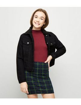 Girls Blue Check Tube Skirt by New Look