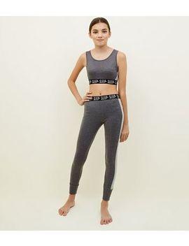 Girls Grey Sleep Slogan Brushed Pyjama Set by New Look