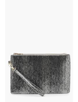 Metallic Faux Python Snake Zip Top Clutch by Boohoo