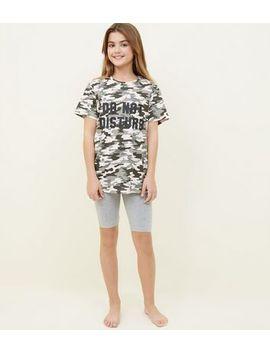 Girls Green Camo Print Lazy Days Pyjama Set by New Look