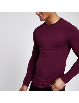 Dark Red Muscle Fit Long Sleeve T Shirt by River Island