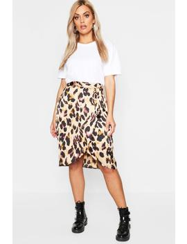 Plus Leopard Satin Ruffle Wrap Skirt by Boohoo