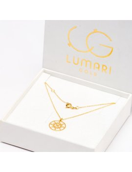 Gold Chain With Compass Pendant 14k Yellow Gold Beautiful Fashionable Necklace by Etsy