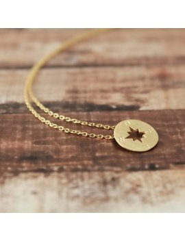 Gold Tiny Compass Pendent Necklace, Gold Necklace, Compass Necklace, Dainty Compass Necklace   3031 by Etsy