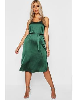 Plus Satin Belted Midi Dress by Boohoo