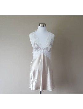 Large Victoria's Secret Silk Chemise, Dress,  Nightgown,   Gown , Slip, Gray  W/ Lace by Etsy