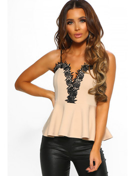 Dancing Solo Stone Crochet Trim Plunge Peplum Top by Pink Boutique
