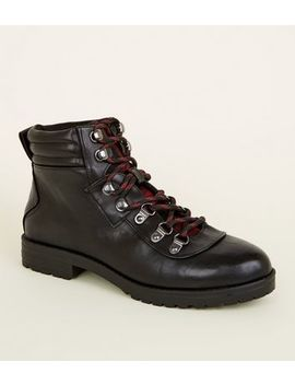 Girls Black Leather Look Lace Up Boots by New Look