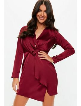Burgundy Silky Plunge Wrap Shift Dress by Missguided