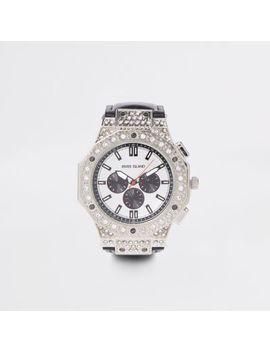 Black Silver Tone Diamante Watch by River Island