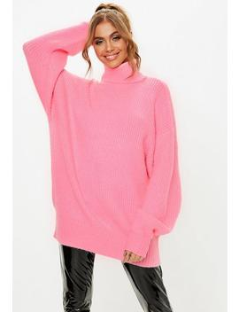 Pink Premium Roll Neck Boyfriend Jumper by Missguided