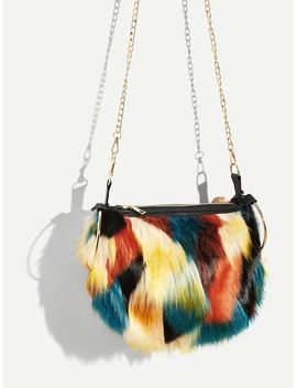Faux Fur Satchel Bag With Ring Handle by Sheinside