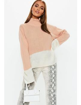 Nude Colourblock High Neck Jumper by Missguided