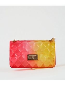 Pink Jelly Quilted Chain Shoulder Bag by New Look