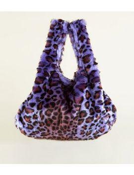Purple Faux Leopard Fur Pouch Bag by New Look