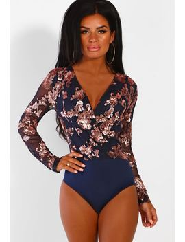 Luxury Merritt Navy And Rose Gold Sequin Bodysuit by Pink Boutique