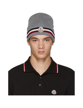Grey Wool Beanie by Moncler