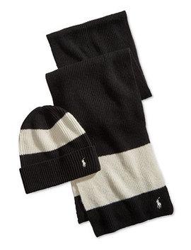 Men's Ruby Stripe Hat & Scarf Gift Set by Polo Ralph Lauren