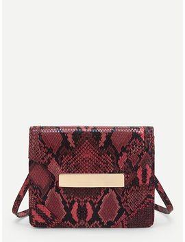 Snakeskin Pattern Flap Crossbody Bag by Sheinside