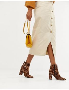 New Look Buckle Detailed Heel Boot In Leopard by New Look