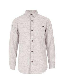 Boys Pink Long Sleeve Herringbone Shirt by River Island