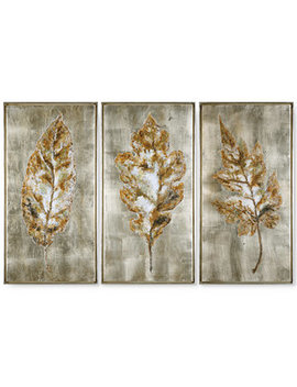 Champagne Leaves 3 Pc. Modern Wall Art by Uttermost
