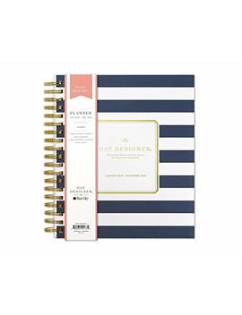 "Day Designer For Blue Sky 2019 Daily & Monthly Planner, Flexible Frosted Cover, Twin Wire Binding, 8"" X 10"", Navy Stripe by Blue Sky"