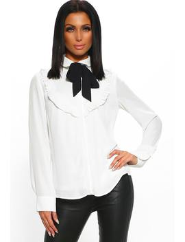 Cafe Society White Long Sleeve Pussybow Blouse by Pink Boutique