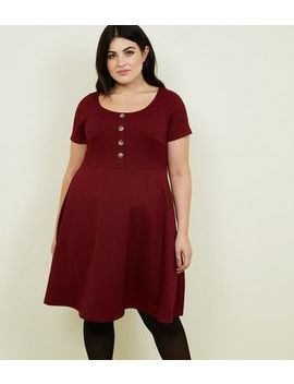 Curves Plum Textured Skater Dress by New Look