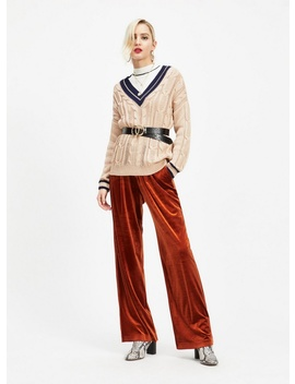 Camel Cable Cricket Knitted Jumper by Miss Selfridge