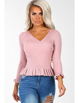 Times Square Pink Lurex Wrap Front Frill Peplum Jumper by Pink Boutique
