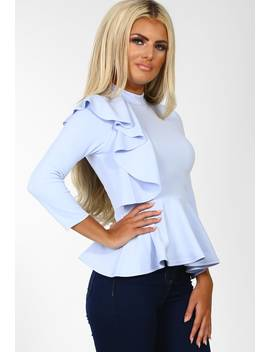 Bad At Love Baby Blue Frill Front High Neck Peplum Top by Pink Boutique