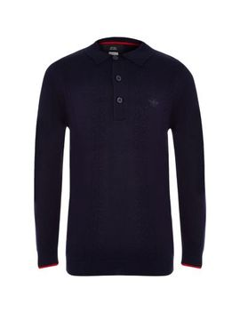 Boys Navy Cable Long Sleeve Polo Shirt by River Island