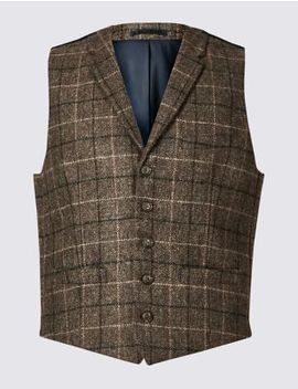 Pure Wool Checked Regular Fit Waistcoat by Marks & Spencer