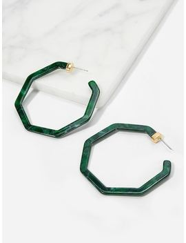 Marble Pattern Geometric Hoop Earrings by Sheinside
