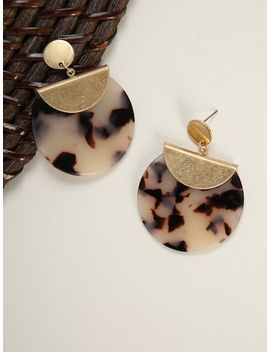 Marble Effect Round Earrings by Sheinside