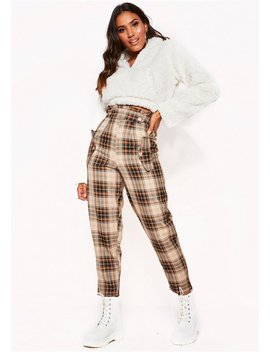 Tiana Beige Checked High Waist Paperbag Trousers by Missy Empire