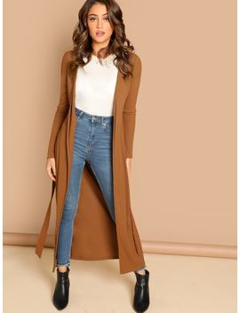 Self Belted Longline Solid Coat by Shein