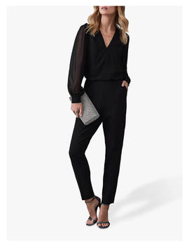 Reiss Adeliza Button Detail Jumpsuit, Black by Reiss