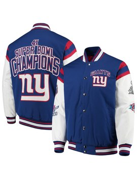 New York Giants G Iii Sports By Carl Banks Home Team Cotton Canvas Varsity Jacket – Royal/White by G Iii Sports By Carl Banks
