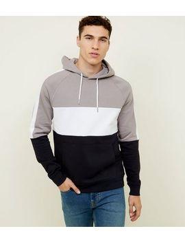 Pale Grey Colour Block Hoodie by New Look