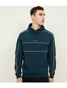 Teal Pocket Front Piped Detail Hoodie by New Look
