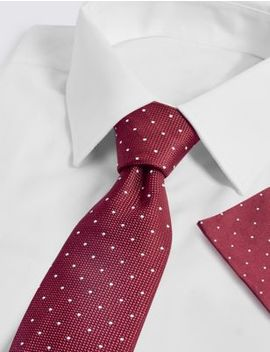 Pure Silk Spotted Tie & Pocket Square Set by Marks & Spencer