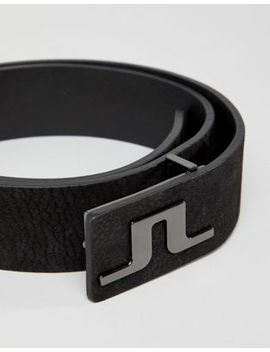J.Lindeberg Golf Brushed Leather Belt In Black by J.Lindeberg