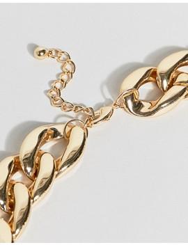 Asos Design – Auffällige Halskette Mit Großen Perlen Und Dicker, Goldfarbener Kette by Asos